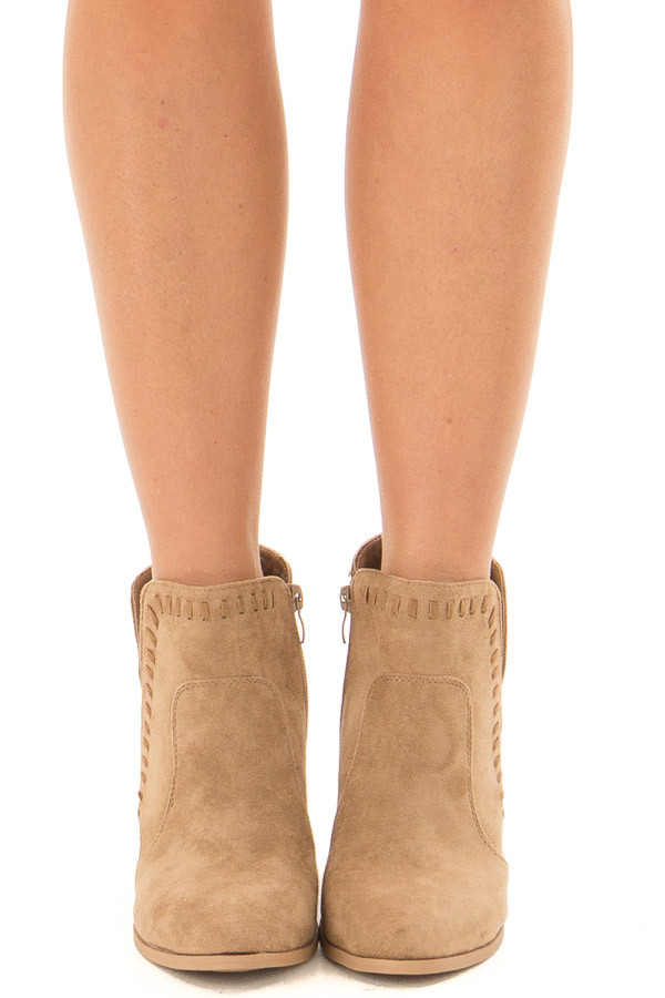 Taupe Faux Suede Bootie with Cut Out and Braided Details front view