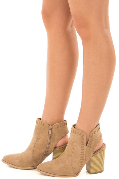 Taupe Faux Suede Bootie with Cut Out and Braided Details side view