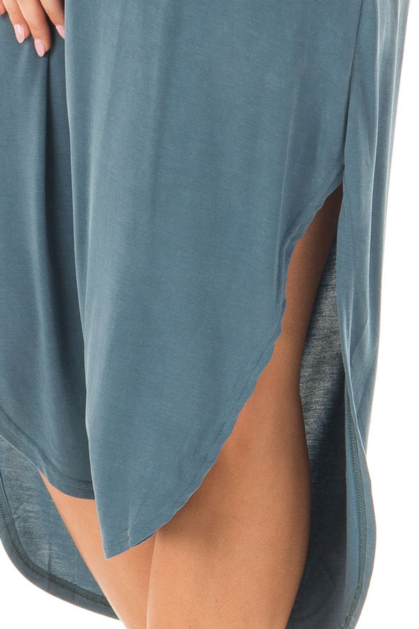 Deep Teal Spaghetti Strap Dress with Side Slits side detail
