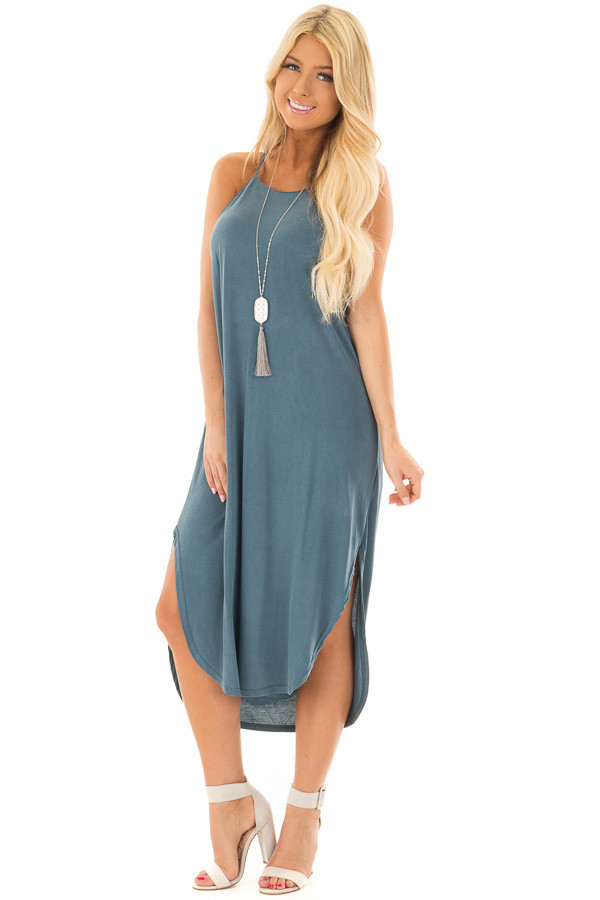 Deep Teal Spaghetti Strap Dress with Side Slits front full body