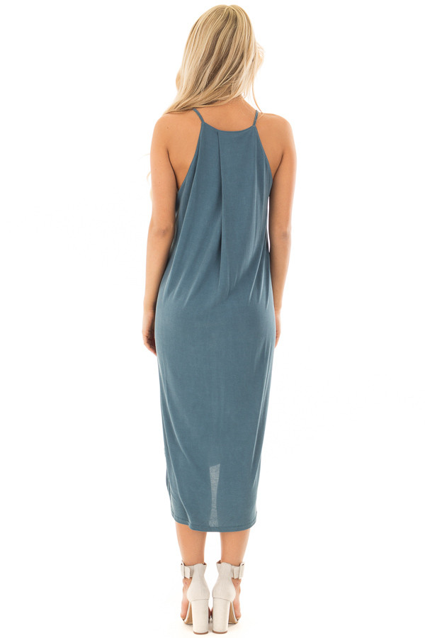 Deep Teal Spaghetti Strap Dress with Side Slits back full body