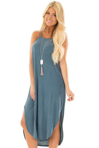 Deep Teal Spaghetti Strap Dress with Side Slits front closeup