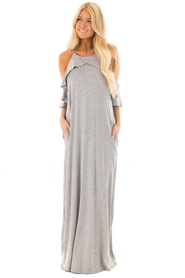 Heather Grey Cold Shoulder and Ruffle Detail Maxi Dress front full body