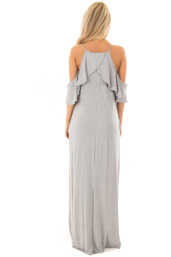 Heather Grey Cold Shoulder and Ruffle Detail Maxi Dress back full body