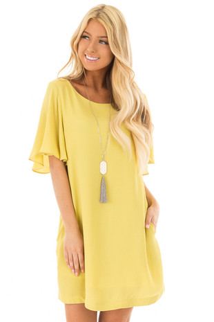 Lemon Yellow Ruffle Sleeve Dress with Hidden Pockets front closeup