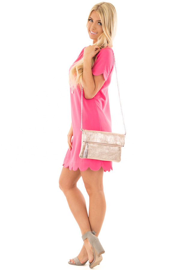 Rose Gold Leather Fold Over Clutch with Tassel side full body