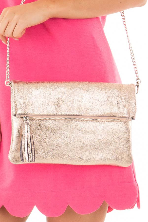 Rose Gold Leather Fold Over Clutch with Tassel close