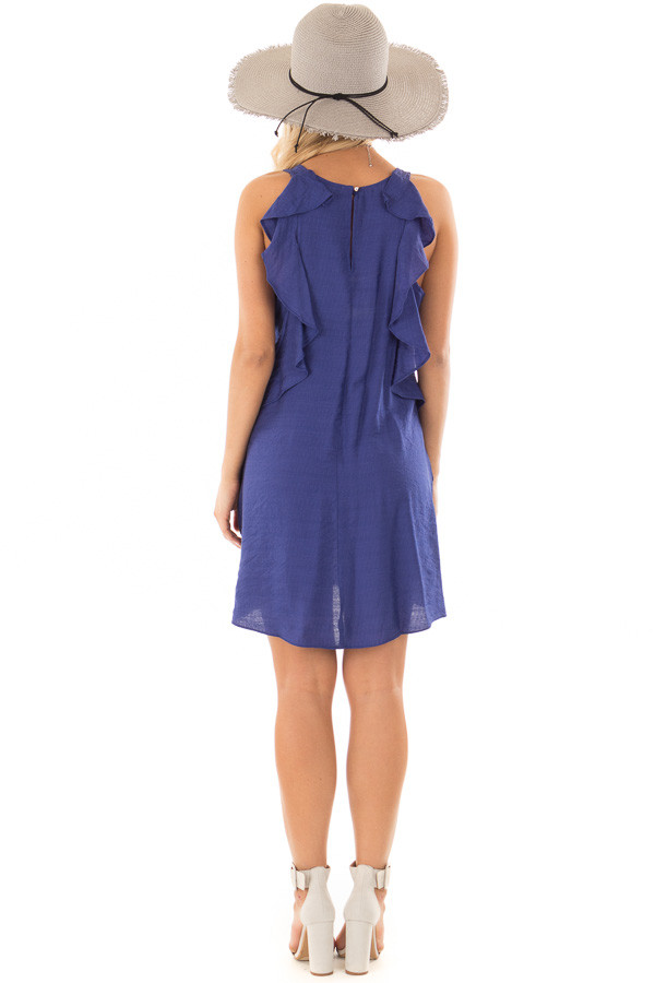 Blueberry Shift Dress with Ruffle Back Detail back full body
