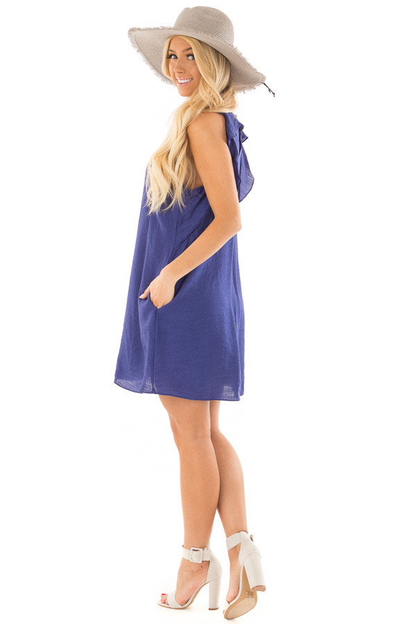 Blueberry Shift Dress with Ruffle Back Detail side full body
