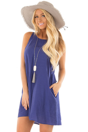 Blueberry Shift Dress with Ruffle Back Detail front closeup