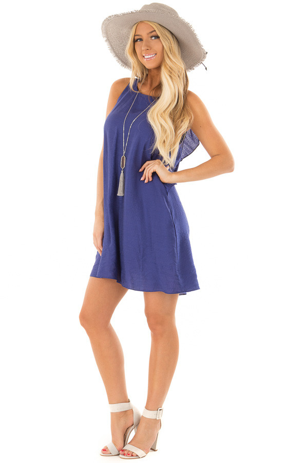 Blueberry Shift Dress with Ruffle Back Detail front full body