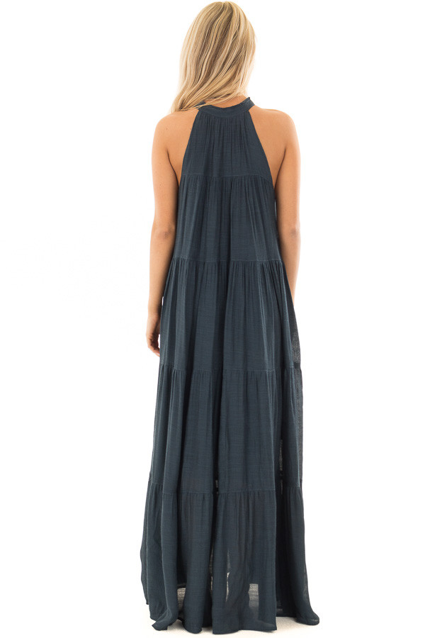 Midnight Navy Tiered Maxi Dress with V Neck and Tie Detail back full body