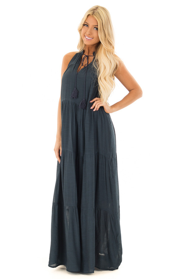 Midnight Navy Tiered Maxi Dress with V Neck and Tie Detail front full body