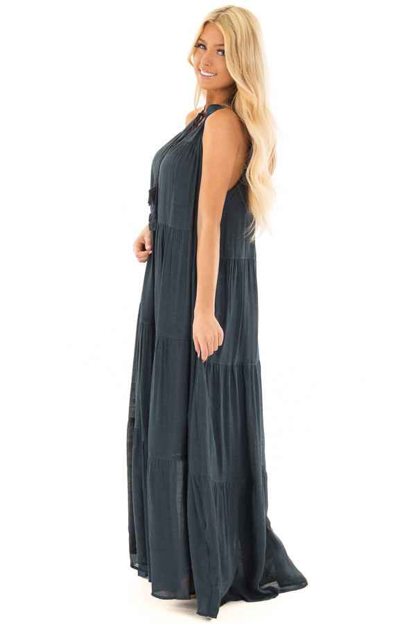 Midnight Navy Tiered Maxi Dress with V Neck and Tie Detail side full body