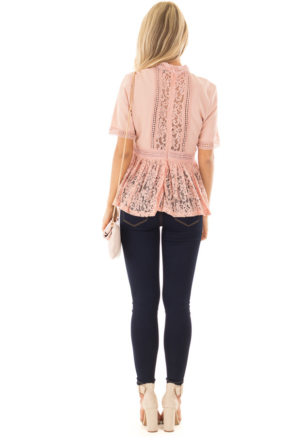Blush High Neck Top with Sheer Lace Contrast back full body