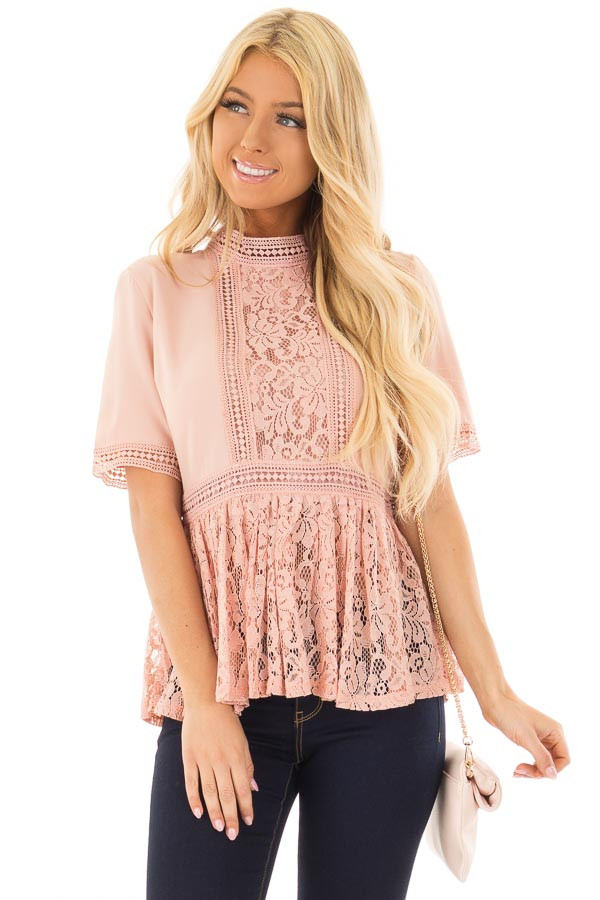 Blush High Neck Top with Sheer Lace Contrast front closeup