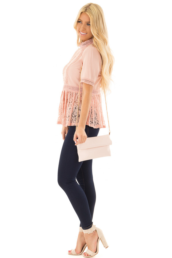 Blush High Neck Top with Sheer Lace Contrast side full body