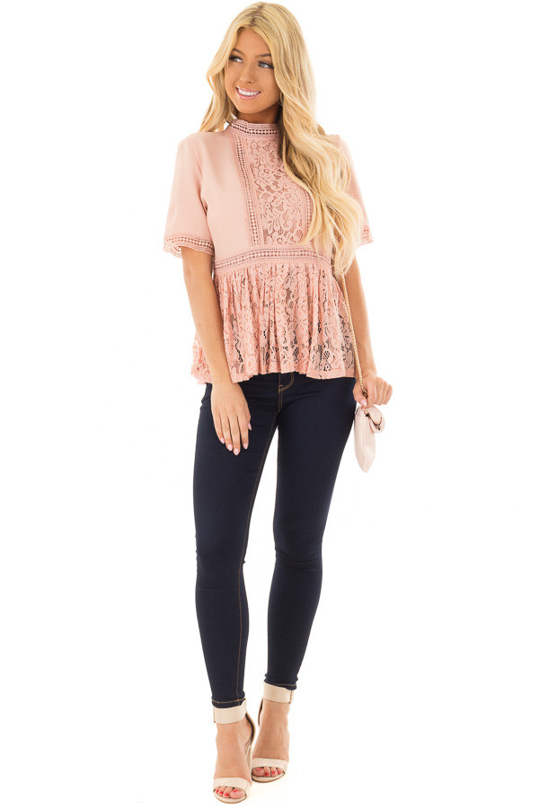 Blush High Neck Top with Sheer Lace Contrast front full body