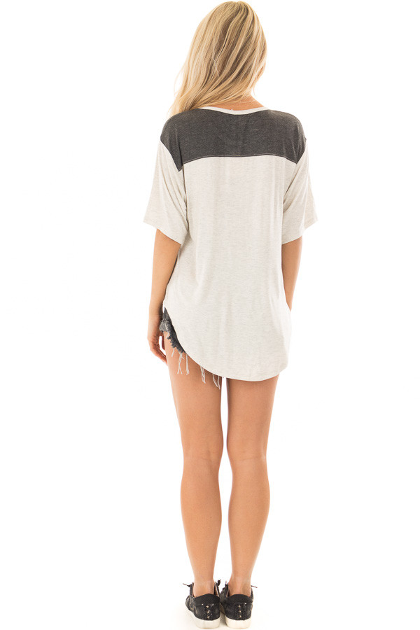 Oatmeal and Charcoal Color Block Tee Shirt back full body