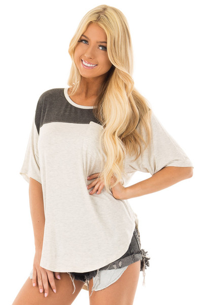 Oatmeal and Charcoal Color Block Tee Shirt front closeup
