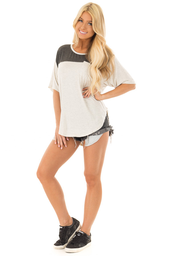 Oatmeal and Charcoal Color Block Tee Shirt front full body