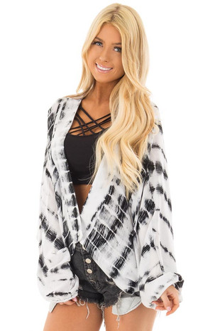 Black and White Tie Dye Dolman Sleeve Cardigan front closeup