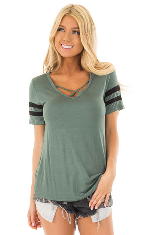 Dusty Fern Criss Cross Tee Shirt with Black Varsity Stripes front closeup