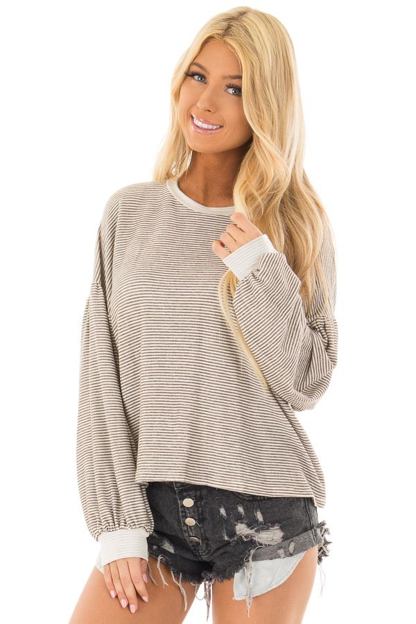 Olive and White Stripe Top with Bubble Sleeves front closeup