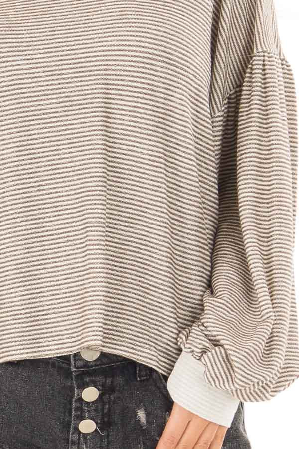 Olive and White Stripe Top with Bubble Sleeves front detail