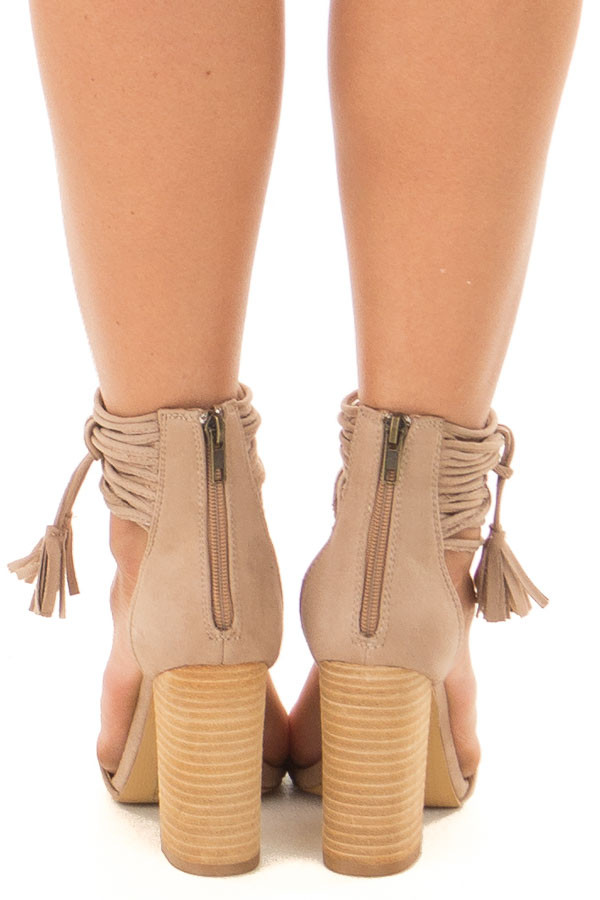 Taupe Faux Suede High Heels with Strappy Ankles back view
