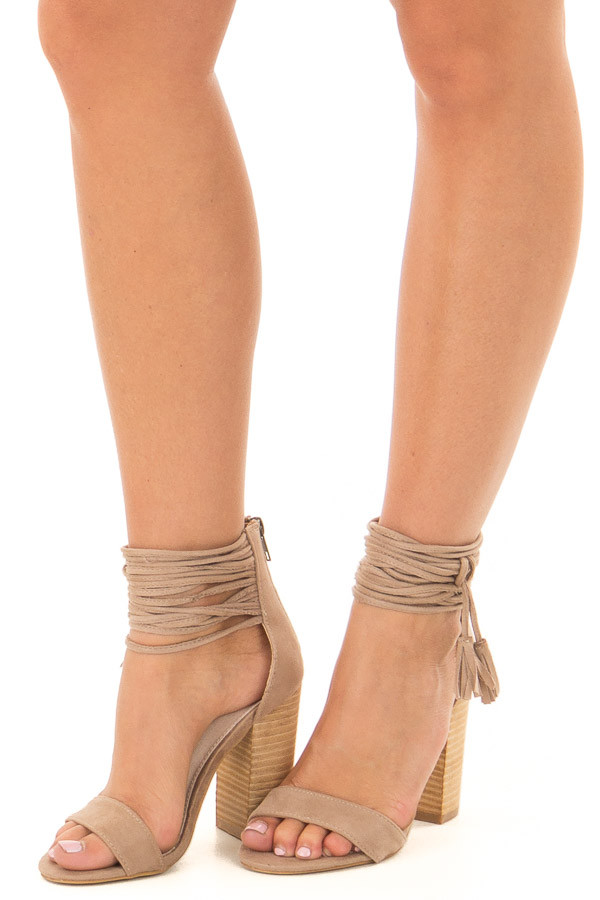 Taupe Faux Suede High Heels with Strappy Ankles front side view