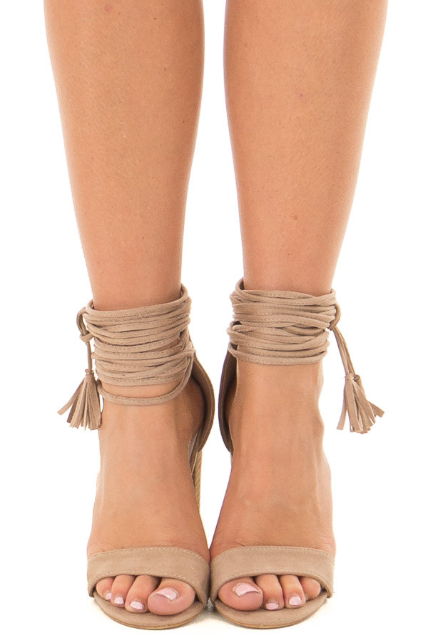 Taupe Faux Suede High Heels with Strappy Ankles front view