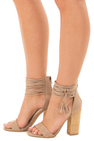 Taupe Faux Suede High Heels with Strappy Ankles side view