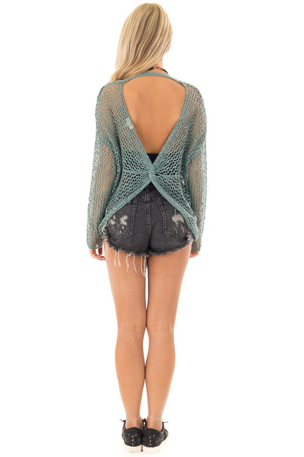 Ocean Green Sheer Loose Knit Top with Open Twist Back back full body