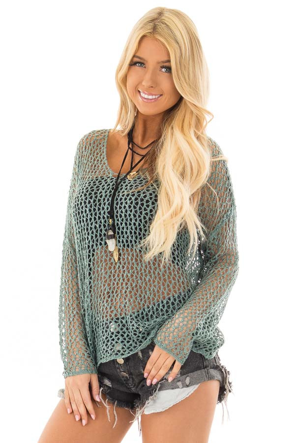 Ocean Green Sheer Loose Knit Top with Open Twist Back front closeup