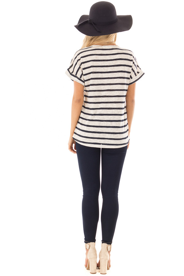 Navy and Ivory Striped Short Sleeve Top back full body