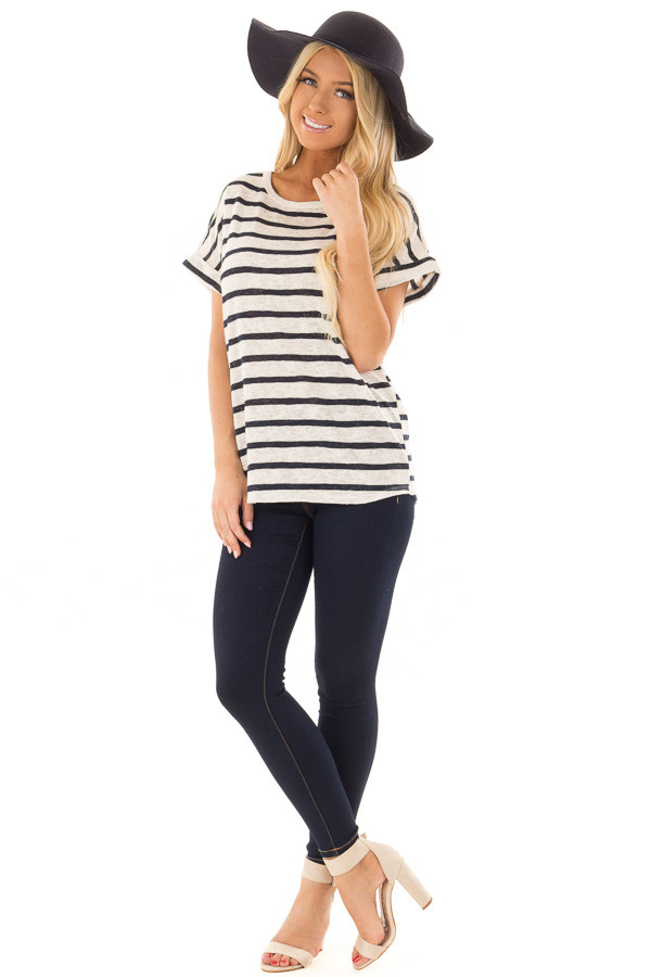 Navy and Ivory Striped Short Sleeve Top front full body