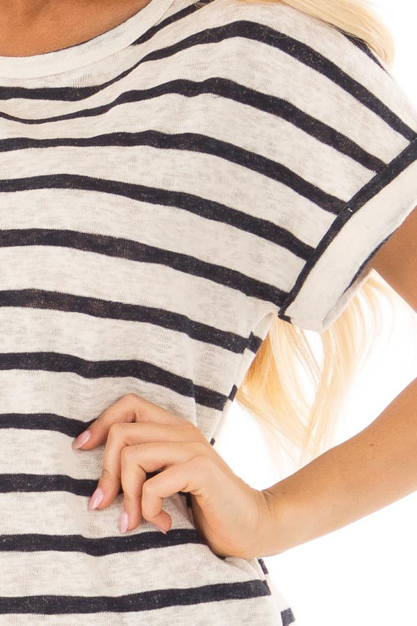 Navy and Ivory Striped Short Sleeve Top front detail