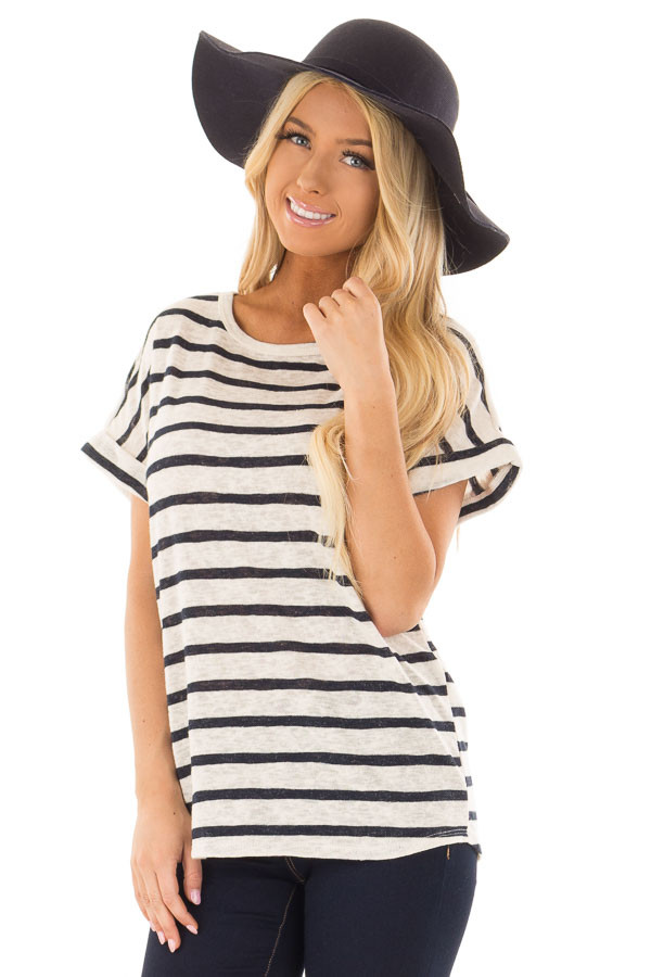 Navy and Ivory Striped Short Sleeve Top front closeup