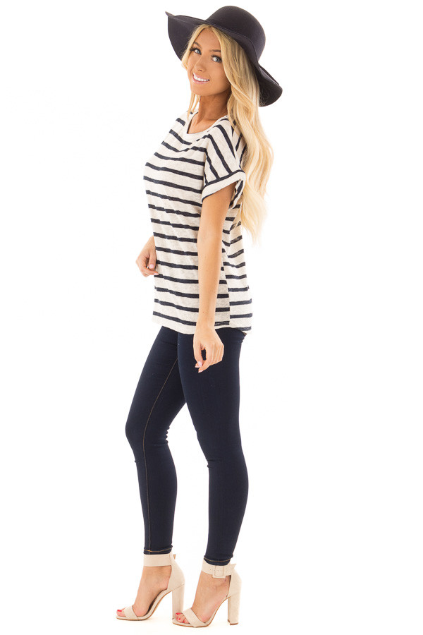 Navy and Ivory Striped Short Sleeve Top side full body