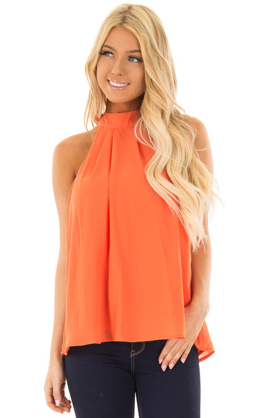 Tangerine High Neck Blouse with Twist Back Detail front closeup