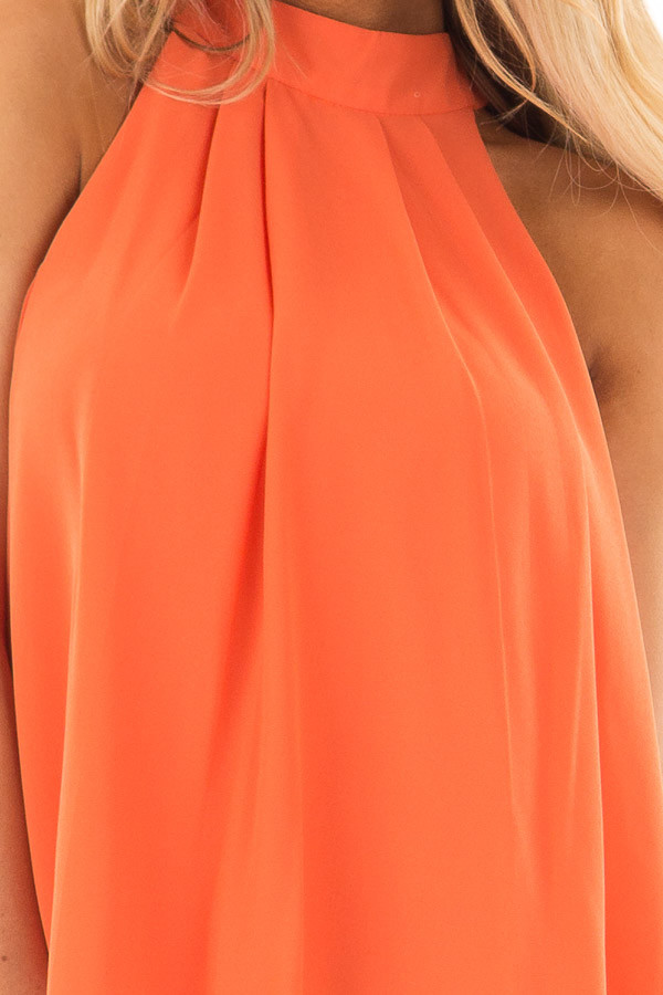 Tangerine High Neck Blouse with Twist Back Detail front detail