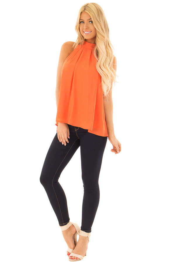 Tangerine High Neck Blouse with Twist Back Detail front full body