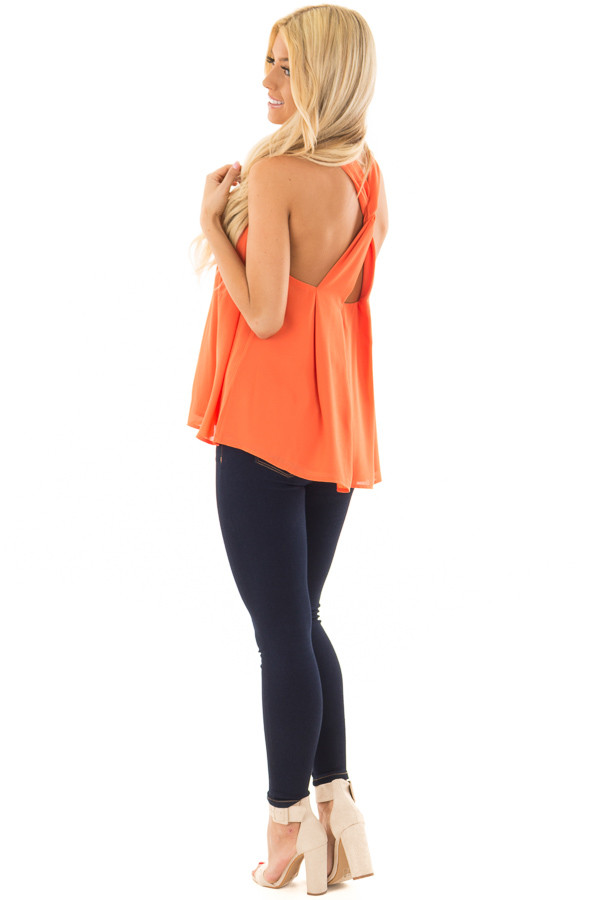Tangerine High Neck Blouse with Twist Back Detail side full body