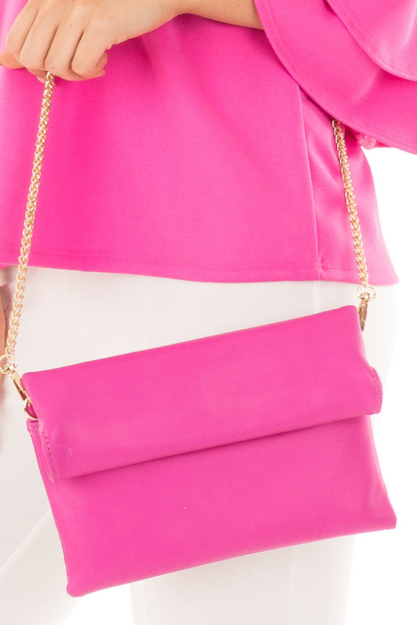 Fuchsia Faux Leather Roll Over Clutch