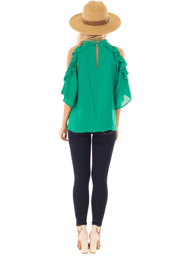 Kelly Green Cold Shoulder Top with Ruffle Sleeve Detail back full body