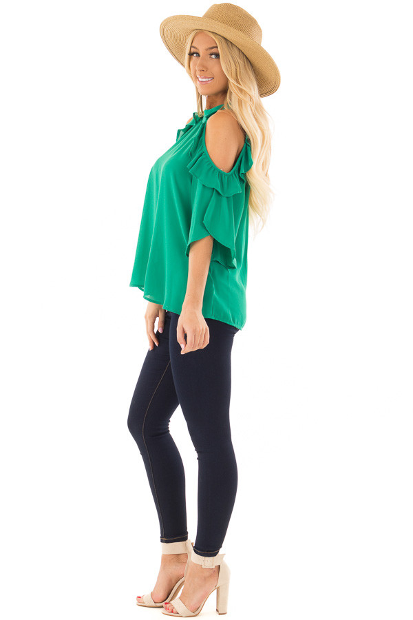 Kelly Green Cold Shoulder Top with Ruffle Sleeve Detail side full body