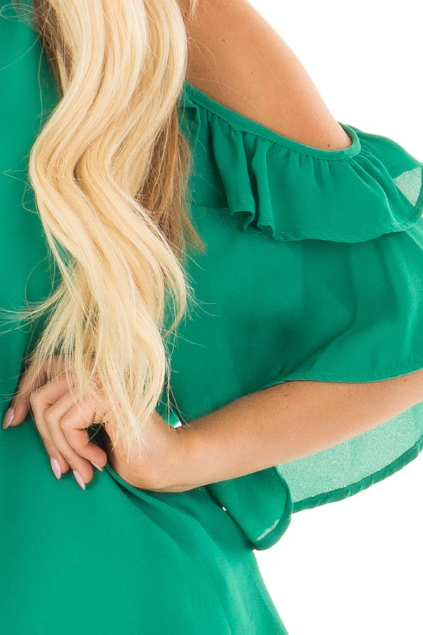 Kelly Green Cold Shoulder Top with Ruffle Sleeve Detail detail