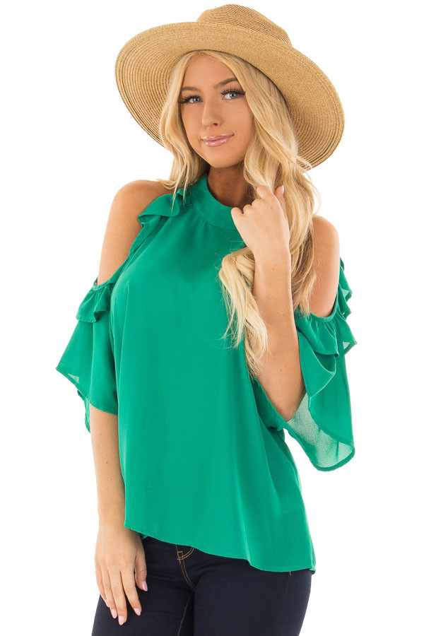 Kelly Green Cold Shoulder Top with Ruffle Sleeve Detail front close up
