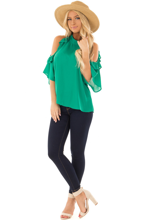 Kelly Green Cold Shoulder Top with Ruffle Sleeve Detail front full body